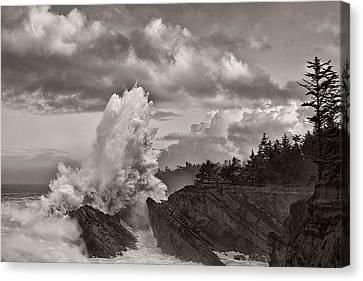 Crashing Waves At Shore Acres Canvas Print