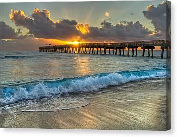 Crashing Waves At Sunrise Canvas Print by Debra and Dave Vanderlaan