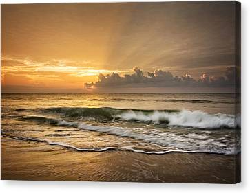 Crashing Waves At Sunrise Canvas Print