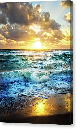 Canvas Print featuring the photograph Crashing Waves Into Shore by Debra and Dave Vanderlaan