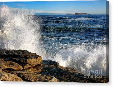 Crashing Waves On Fox Island Canvas Print by Olivier Le Queinec