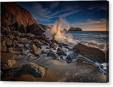 Crashing Waves On Rodeo Beach Canvas Print by Rick Berk