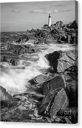 Crashing Waves, Portland Head Light, Cape Elizabeth, Maine  -5605 Canvas Print by John Bald
