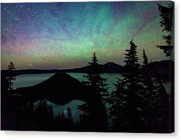 Canvas Print featuring the photograph Crater Lake Airglow by Cat Connor