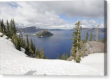 Crater Lake Cloud And Shadow Canvas Print by Harold Piskiel