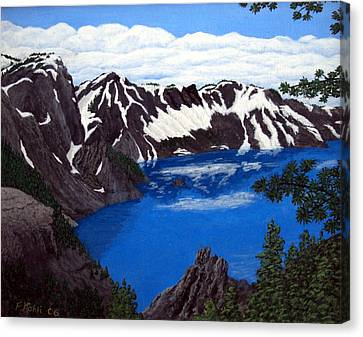 Canvas Print featuring the painting Crater Lake by Frederic Kohli