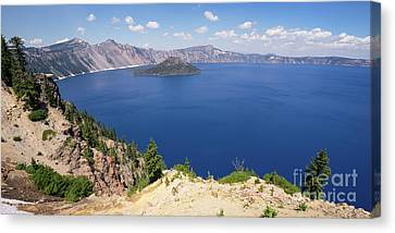 Canvas Print featuring the photograph Crater Lake Klamath County Oregon Dsc5197 Panorama by Wingsdomain Art and Photography