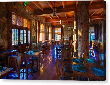 Wizard Island Canvas Print - Crater Lake Lodge Dining Room by Scott McGuire