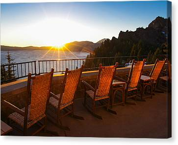 Wizard Island Canvas Print - Crater Lake Lodge Porch Sunrise by Scott McGuire