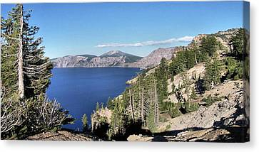 Crater Lake  Mountain Panorama Scene Picture Decor  Canvas Print by John Samsen