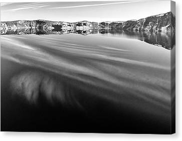 Crater Lake Reflections B W Canvas Print by Frank Wilson