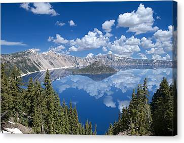 Crater Lake Reflections Canvas Print by Loree Johnson