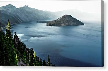 Canvas Print featuring the photograph Crater Lake Under A Siege by Eduard Moldoveanu