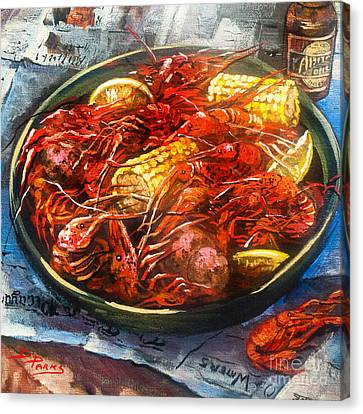 Abita Amber Beer Canvas Print - Crawfish Eatin' Time by Dianne Parks