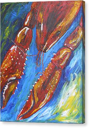 Crawfish On Blue Canvas Print by Candace Nalepa