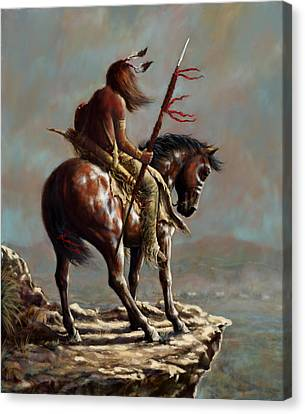 Crazy Horse_digital Study Canvas Print by Harvie Brown