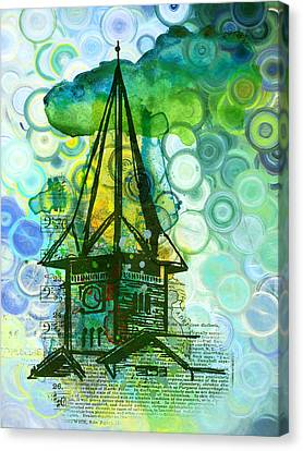 Crazy House In The Clouds Whimsy Canvas Print by Georgiana Romanovna