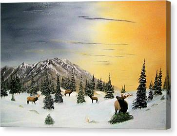 Canvas Print featuring the painting Crazy Mountains Sunset by Al  Johannessen