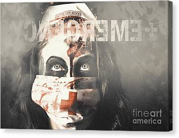 Crazy Nurse Of Death Looking At Emergency Sign Canvas Print