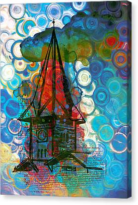 Crazy Red House In The Clouds Whimsy Canvas Print by Georgiana Romanovna