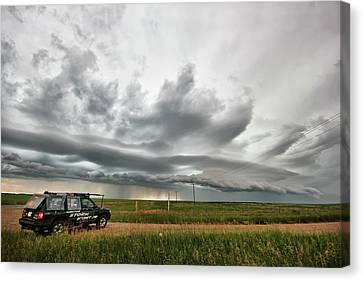 Crazy Shelf Cloud Near Ponteix Sk. Canvas Print by Ryan Crouse