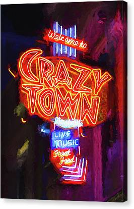 Downtown Nashville Canvas Print - Crazy Town - Impressionistic by Stephen Stookey