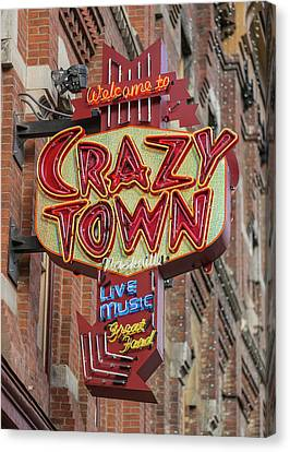 Downtown Nashville Canvas Print - Crazy Town by Stephen Stookey