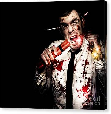Crazy Zombie Businessman With Dynamite Explosives Canvas Print by Jorgo Photography - Wall Art Gallery