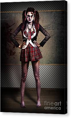 Crazy Zombie School Student. Tales From The Crypt  Canvas Print