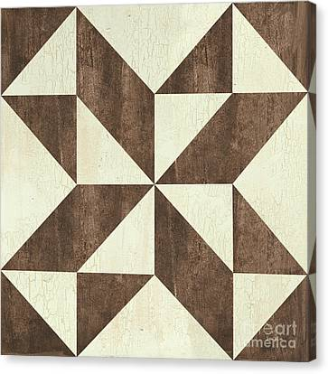 Block Quilts Canvas Print - Cream And Brown Quilt by Debbie DeWitt