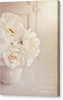 Canvas Print featuring the photograph Cream Roses In Vase by Lyn Randle