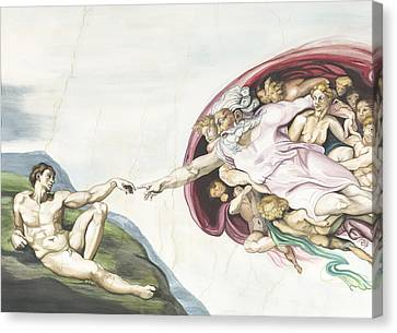 Creation Of Adam Copy Of Old Master Work Canvas Print