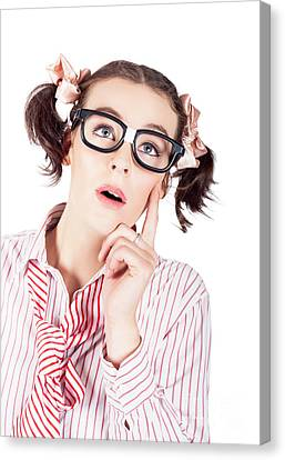 Creative And Thoughtful Young Business Woman Canvas Print by Jorgo Photography - Wall Art Gallery