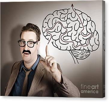 Creative Man Thinking Up Brain Illustration Idea Canvas Print by Jorgo Photography - Wall Art Gallery