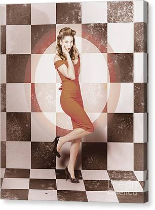 Creative Vintage Pin-up Girl In 50s Retro Diner Canvas Print by Jorgo Photography - Wall Art Gallery