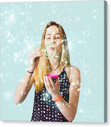 Creative Woman Blowing Birthday Party Bubbles Canvas Print