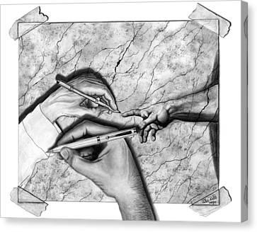 Creators Hand At Work Canvas Print by Peter Piatt