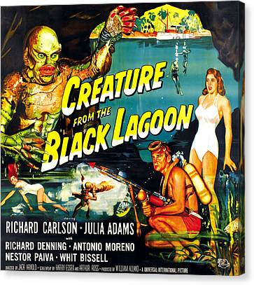 Horror Fantasy Movies Canvas Print - Creature From The Black Lagoon by Everett