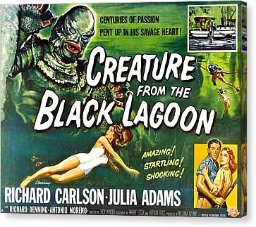 Horror Fantasy Movies Canvas Print - Creature From The Black Lagoon, Upper by Everett