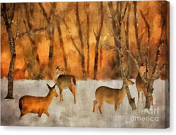 Bare Trees Canvas Print - Creatures Of A Winter Sunset by Lois Bryan
