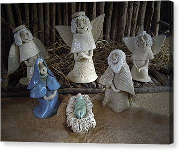 Creche Mary Joseph And Baby Jesus Canvas Print by Nancy Griswold