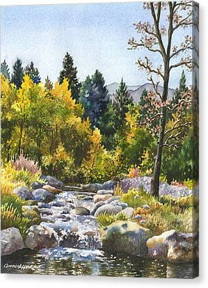 Autumn Leaf Canvas Print - Creek At Caribou by Anne Gifford
