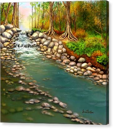 Canvas Print featuring the painting Creek In The Spring by Sena Wilson