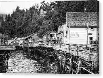 Creek Street In Ketchikan Bw Canvas Print by Mel Steinhauer