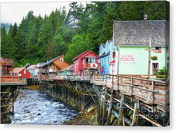 Creek Street In Ketchikan Canvas Print by Mel Steinhauer