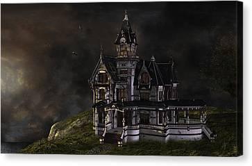 Creepy Mansion Canvas Print by Marie-Pier Larocque