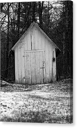 Creepy Old Shed In The Cemetary Canvas Print