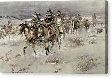 Crees Coming In To Trade Canvas Print by Charles Marion Russell