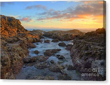 Canvas Print featuring the photograph Crescent Bay Tide Pools At Sunset by Eddie Yerkish