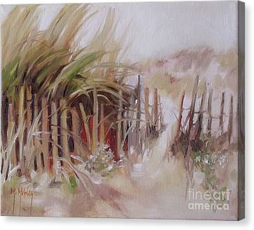 Crescent Beach Fence Canvas Print by Mary Hubley